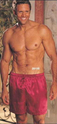Gyz Charmeuse Stripe Boxer Shorts Burgundy 25115