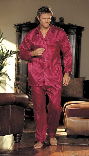 Gyz Silky Soft Stripe Pajama Set Burgandy 25138