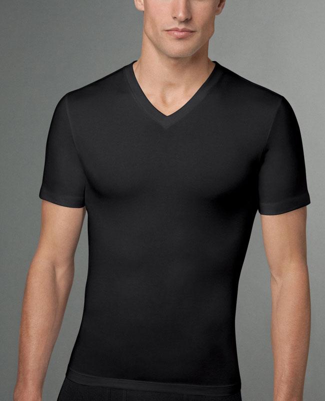 617dc902c SPANX For Men Cotton Compression V Neck Short Sleeved T Shirt Black 610