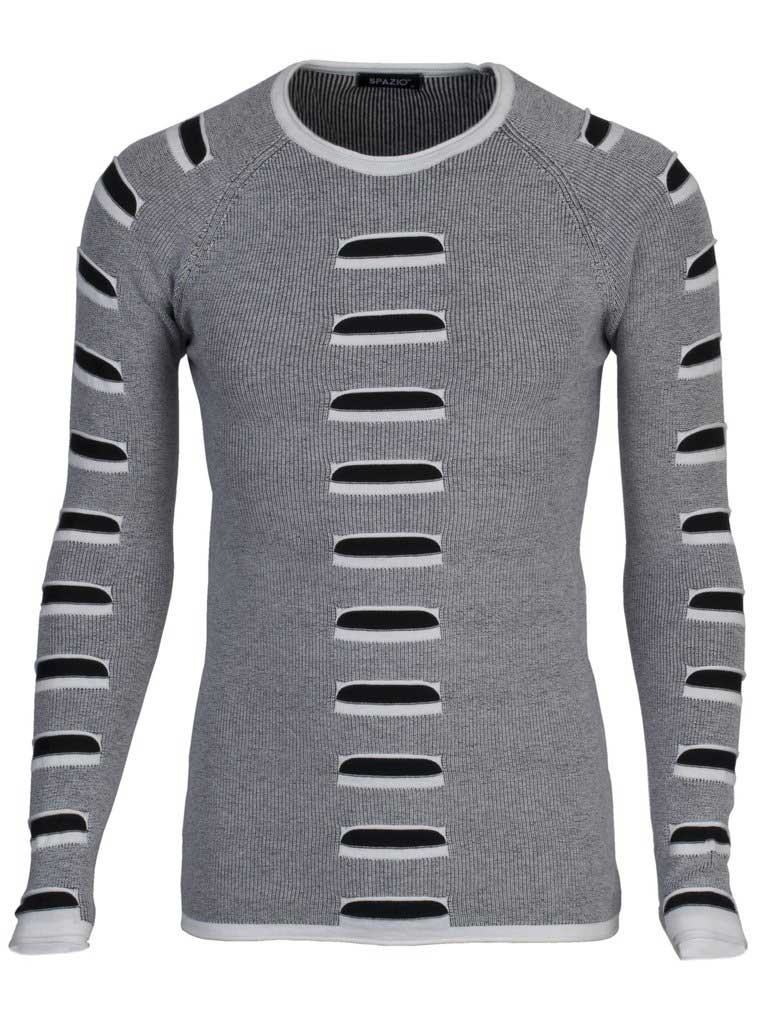 a1f68a84cca7 Spazio Dala Long Sleeved Sweater Ecru Black 1603  1603    Buy Men s ...