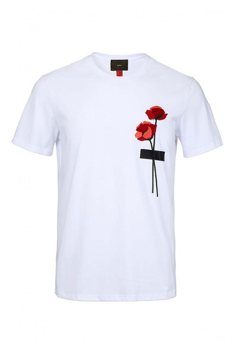 0ffc32ba Spy Henry Lau Floral Embroidery Short Sleeved T Shirt White/Red PH498MTE.  Hover to zoom