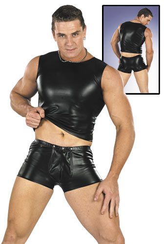 Svenjoyment Snap Front Faux Leather Boxer Brief Underwear 0271098