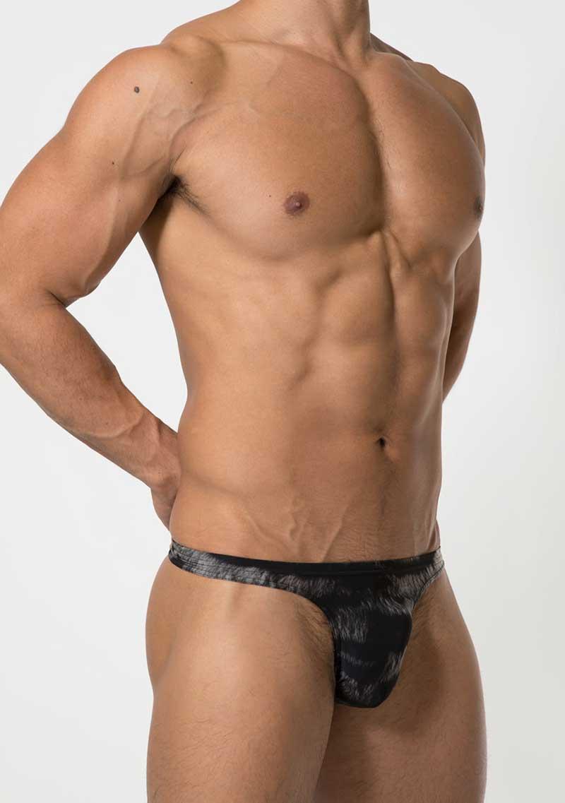 44c7124e69e6 Toot Tiger Print T Back Thong Underwear Black TB20G353 [TB20G353 ...