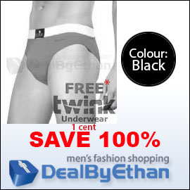 Twink Solid Glovebox Classic Brief FREE Men's Underwear Black