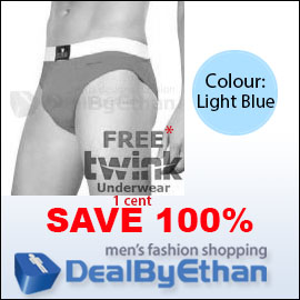 Twink Solid Glovebox Classic Brief FREE Men's Underwear Light Blue