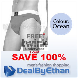 Twink Solid Glovebox Classic Brief FREE Men's Underwear Ocean