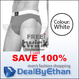 Twink Solid Glovebox Classic Brief FREE Men's Underwear White
