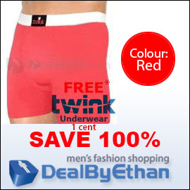 Twink Solid Long Boxer Brief FREE Men's Underwear Red