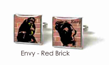 Tyler & Tyler Stencilart 7 Deadly Sins Red Brick Cufflinks Envy