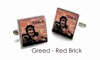 Tyler & Tyler Stencilart 7 Deadly Sins Red Brick Cufflinks Greed