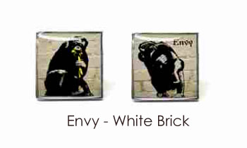 Tyler & Tyler Stencilart 7 Deadly Sins White Brick Cufflinks Envy