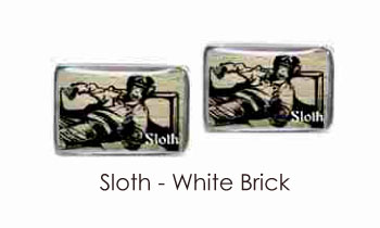 Tyler & Tyler Stencilart 7 Deadly Sins White Brick Cufflinks Sloth