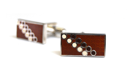 Tyler & Tyler Disco Cufflinks Brown