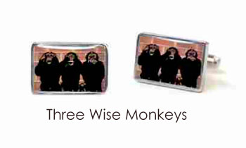 Tyler & Tyler Stencilart Red Bricks Cufflinks 3 Wise Monkeys