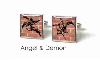 Tyler & Tyler Stencilart Red Bricks Cufflinks ANgel & Demon
