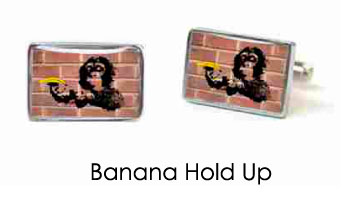 Tyler & Tyler Stencilart Red Bricks Cufflinks Banana Hold Up