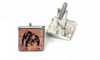 Tyler & Tyler Stencilart Red Bricks Cufflinks Barry Bulldog