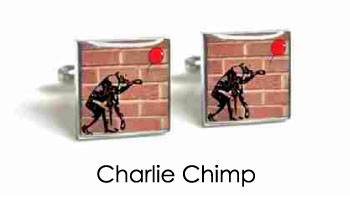 Tyler & Tyler Stencilart Red Bricks Cufflinks Charlie Chimp