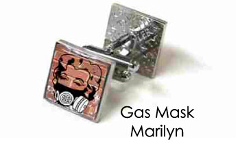 Tyler & Tyler Stencilart Red Bricks Cufflinks Gas Mask Marilyn