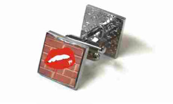 Tyler & Tyler Stencilart Red Bricks Cufflinks Hot Lips