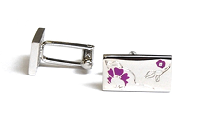 Tyler & Tyler Rose Cufflinks Purple