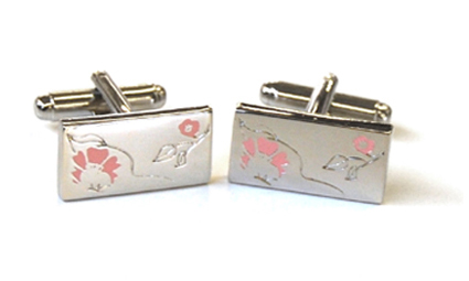 Tyler & Tyler Rose Cufflinks Red