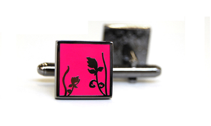 Tyler & Tyler Spring Black Metal Cufflinks Bright Pink