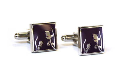 Tyler & Tyler Spring Cufflinks Purple