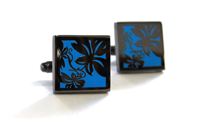 Tyler & Tyler Vine Black Metal Cufflinks Bright Blue