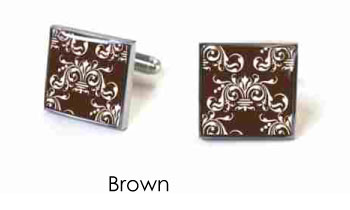 Tyler & Tyler Victorian Wallpaper Clarence Cufflinks Brown
