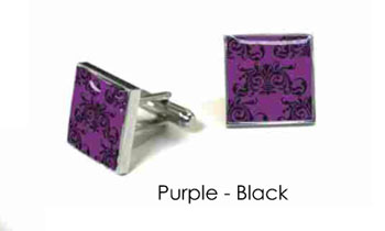 Tyler & Tyler Victorian Wallpaper Clarence Cufflinks Purple/Black