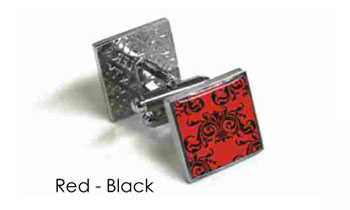 Tyler & Tyler Victorian Wallpaper Clarence Cufflinks Red/Black
