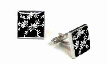 Tyler & Tyler Victorian Wallpaper Franklin Cufflinks Black