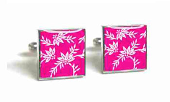 Tyler & Tyler Victorian Wallpaper Franklin Cufflinks Bright Pink