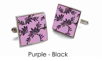 Tyler & Tyler Victorian Wallpaper Franklin Cufflinks Purple/Black
