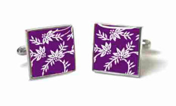 Tyler & Tyler Victorian Wallpaper Franklin Cufflinks Purple