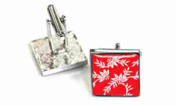 Tyler & Tyler Victorian Wallpaper Franklin Cufflinks Red