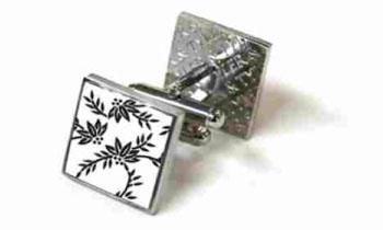 Tyler & Tyler Victorian Wallpaper Franklin Cufflinks White