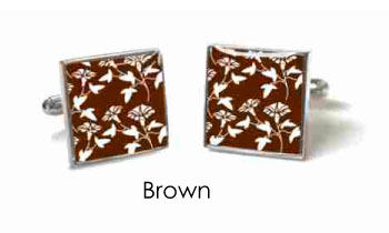 Tyler & Tyler Victorian Wallpaper Jasper Cufflinks Brown