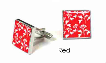 Tyler & Tyler Victorian Wallpaper Jasper Cufflinks Red