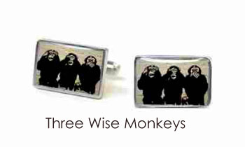 Tyler & Tyler Stencilart White Bricks Cufflinks 3 Wise Monkeys