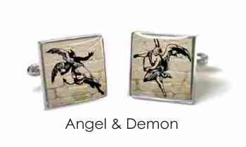 Tyler & Tyler Stencilart White Bricks Cufflinks ANgel & Demon