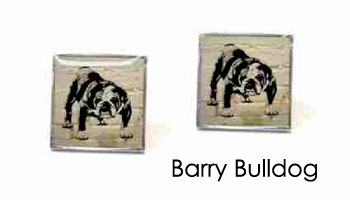 Tyler & Tyler Stencilart White Bricks Cufflinks Barry Bulldog