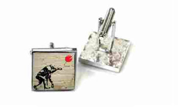 Tyler & Tyler Stencilart White Bricks Cufflinks Charlie Chimp