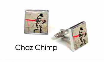 Tyler & Tyler Stencilart White Bricks Cufflinks Chaz Chimp