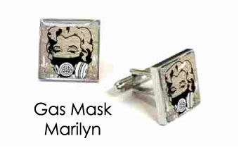 Tyler & Tyler Stencilart White Bricks Cufflinks Gas Mask Marilyn