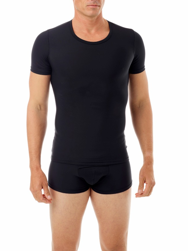 Underworks Shapewear Microfiber Light Compression Body Short Sleeved T Shirt Black 498101