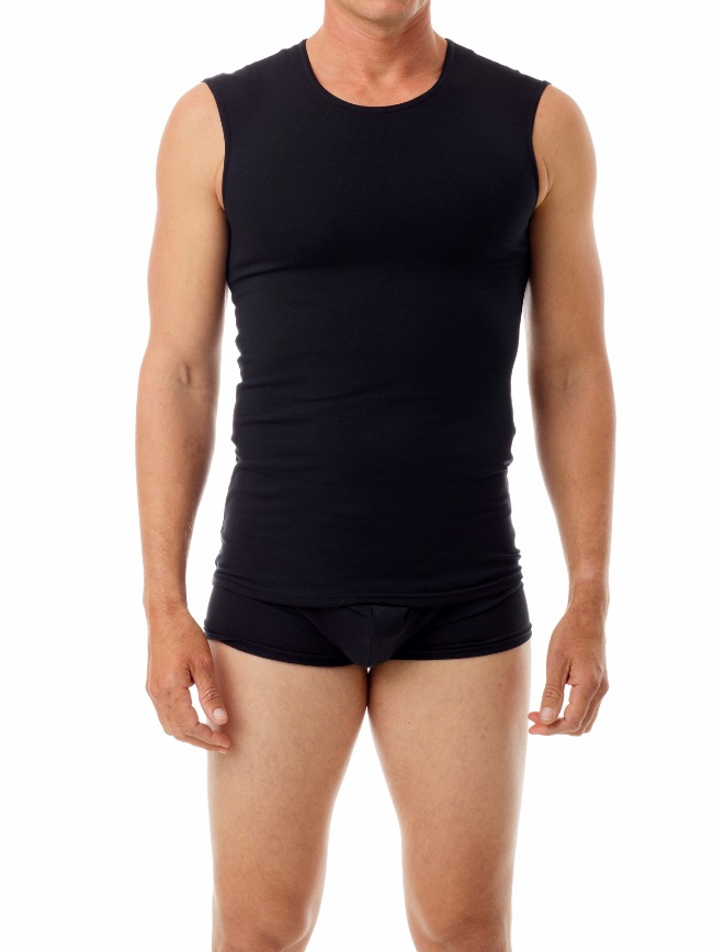 Underworks Shapewear Ultra Light Compression Cotton Spandex Muscle Top T Shirt Black 594101