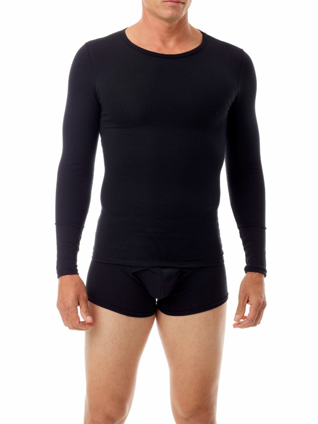 Underworks Shapewear Ultra Light Compression Cotton Spandex Long Sleeved T Shirt Black 597101