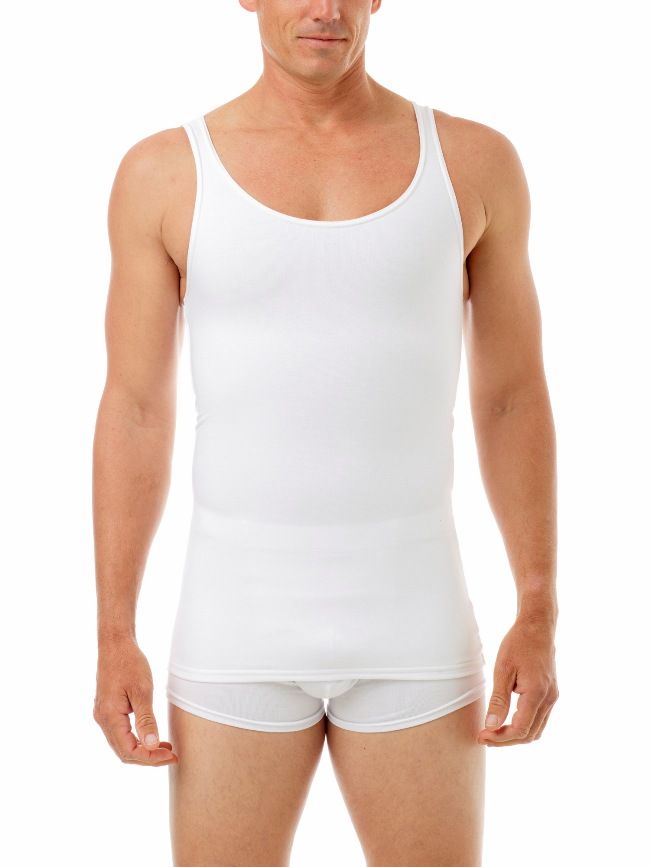 Underworks Shapewear Cotton Concealer Compression Tank Top T Shirt White 973100